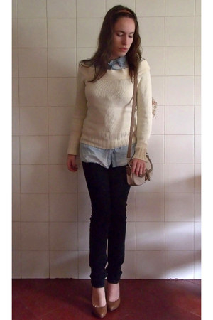 bronze Tally Weijl shoes - black Zara jeans - eggshell sweater