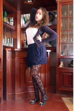 black lace Calzedonia tights - white lace Tally Weijl top - navy Zara skirt