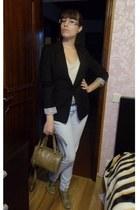 tan Modalfa shoes - periwinkle Zara jeans - black Bershka blazer