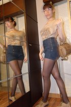 navy Zara shorts - tan Modalfa shoes - tan Zara jacket - camel Majoma bag