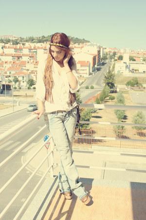 light blue Stradivarius jeans - ivory Zara shirt - camel Stradivarius vest - cha