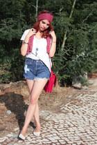 Omen eye shorts - floral scarf Bijou Brigitte scarf - Zara bag - Zara top