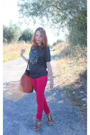 magenta Zara jeans - navy Zara bag - black panther t-shirt Zara t-shirt