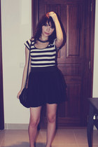 black Zara skirt - white striped top H&M top