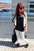 camel VJ-style coat - white Stradivarius jeans - black Zara shirt - black 80s pu