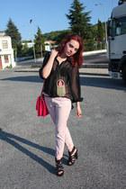 red Zara bag - light pink Zara jeans - black laced back paperdoll shirt