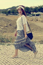 white laced H&M scarf - black Mango bag - navy vintage skirt - white H&M t-shirt