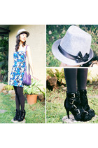 fedora Terranova hat - black boots Summersault boots - Thrift Shop dress