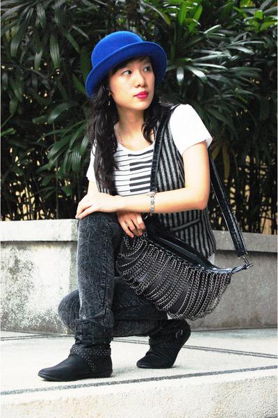 Aldo boots - blue hat H&M hat - Forever 21 pants - Zara vest - Topshop top