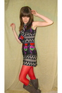 Black-vintage-dress-red-unknown-brand-tights-gray-xhiliration-boots