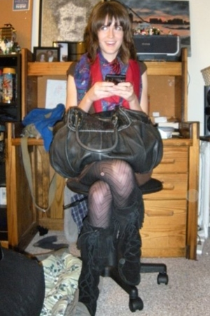 vintage scarf - Target dress - Minnetonka shoes - Urban Outfitters purse
