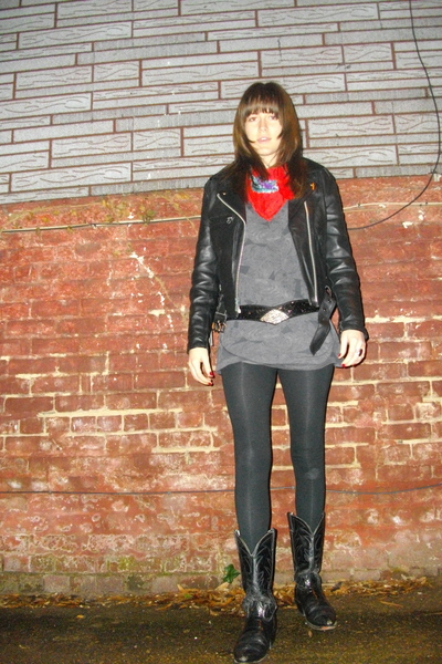 red vintage scarf - black vintage jacket - gray xhilaration shirt - black Americ