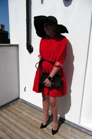 red vintage jacket - black jasper conran bag - black topshop heels