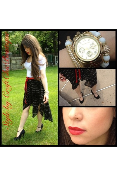 red belt - black mary jane pumps Steve Madden shoes - white white tank shirt