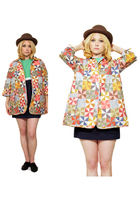 Vintage Quilted Patchwork Print swing Coat Jacket