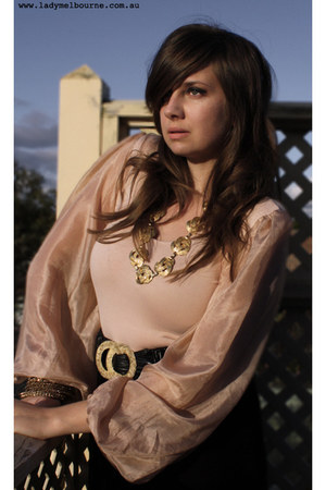 peach Violet & I bodysuit - black vintage belt - gold Chanel necklace