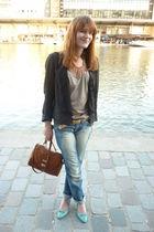 blue vintage shoes - black Maje blazer - H&M Trend necklace