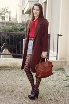 vintage bag - vintage coat - American Apparel shirt - vintage shorts
