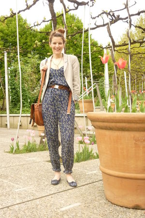 blue Repetto shoes - blue Zara jumpsuit - brown Kookai belt - beige Zara jacket