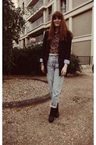 black Zara boots - blue Levis jeans - blue shirt - blue Zara blazer - beige Chan