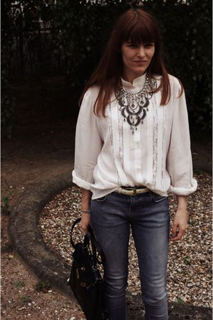 black Chloe boots - blue Zara jeans - white vintage shirt - black vintage purse