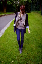 blue Zara blazer - blue asos jeans - gray boots - black purse - gray H&M t-shirt