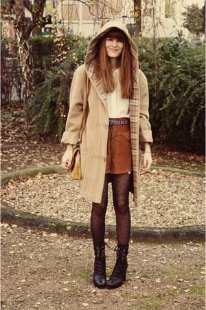 black Miu Miu boots - ivory H&M Trend shirt - camel bag - camel coat - tawny sho