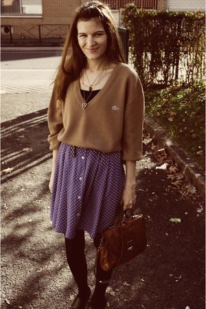 blue skirt - black boots - brown bag - beige Lacoste sweater