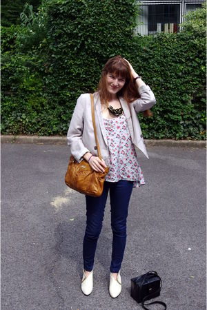 blue asos jeans - white boots - blue H&M top - brown purse - silver H&M jacket