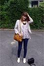 Blue-asos-jeans-white-boots-blue-h-m-top-brown-purse-silver-h-m-jacket