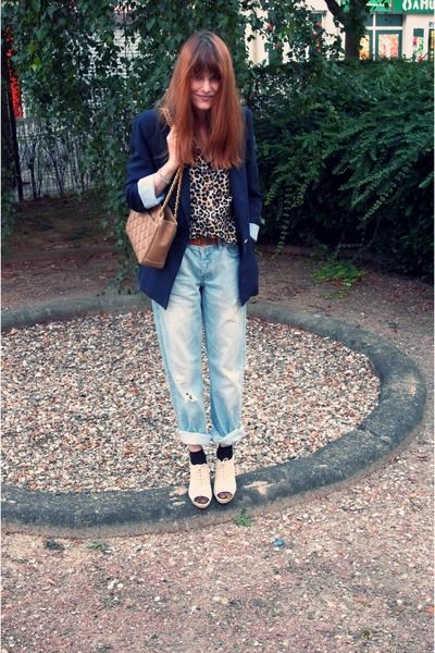 blue H&M jeans - beige Repetto shoes - blue Zara blazer - H&M blouse - beige Cha