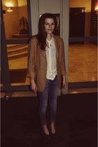 beige Burberry blazer - blue Zara jeans - green shoes - brown Pourchet purse - w
