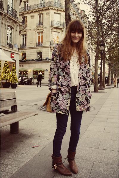 boots - blazer - H&M Trend blouse - bag