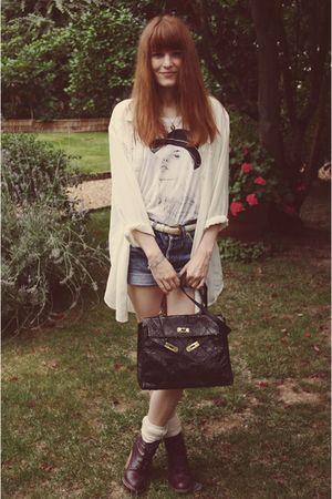 black purse - purple Topshop boots - blue shorts - blue Levis - white H&M t-shir