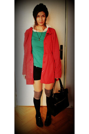 red reserved coat - green clockhouse sweater - green unknown brand shirt - black