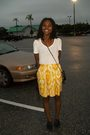 Gold-skirt-white-shirt-black-shoes-black-purse