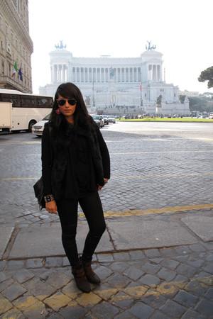 tezenis vest - Zara cardigan - Zara blouse - Cristina T pants - Zara boots - Gla