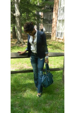 off white pure silk vintage blouse - navy Zara blazer - teal D&G Vintage bag