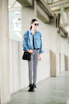 jean jacket mixmoss coat - stripes pants mixmoss pants