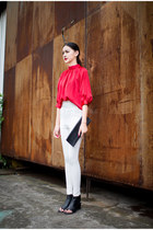 red red silk blouse Blouse blouse - ivory pants pants