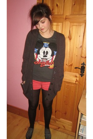 shorts - shoes - cardigan - disney t-shirt