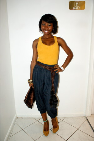 Forever 21 top - Forever 21 heels - raccoon tail belt - vintage pants