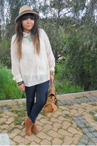 beige sheer cotton on blouse - light brown ankle boots
