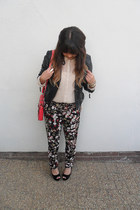 light yellow floral print pants - black leather jacket - hot pink neon bag