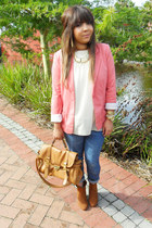 coral coral blazer - tawny suede ankle boots