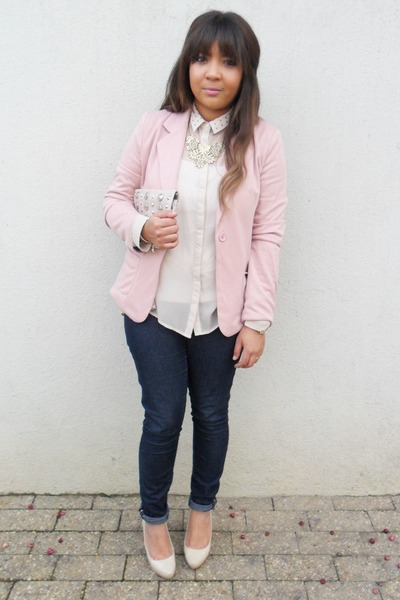light pink blazer - off white studded clutch bag - cream studded collar blouse