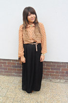 peach polka dot blouse - black maxi skirt