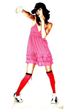 pink Victorias Secret dress - red knee  high socks tights - brown Ed Hardy high