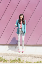 turquoise blue wwwartfitcokr blazer - light blue wwwartfitcokr pants - hot pink 