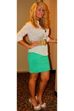 forest green emerald green Lulus skirt skirt - gold Bebe belt belt